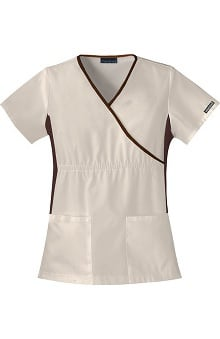 Clearance Cherokee Flexibles Women's Mock Wrap Solid Scrub Top