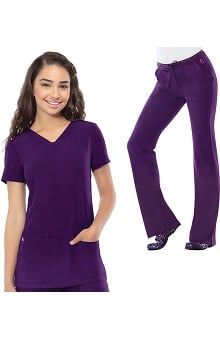 Break On Through by heartsoul Women's V-Neck Scrub Top & Low Rise Scrub Pant Set