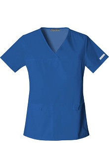 Flexibles by Cherokee Women's V-Neck Solid Scrub Top with Side Panels