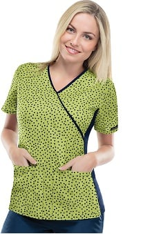 Flexibles by Cherokee Women's Mock Wrap Heart Print Scrub Top