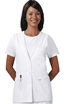 Cherokee Women's Professional Whites Button-Front Scrub Vest Solid Scrub Top