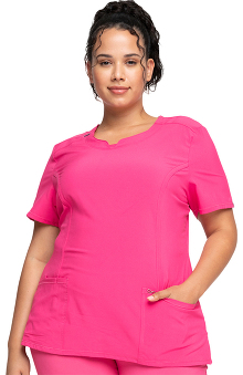Infinity by Cherokee with Certainty Antimicrobial Fabric Technology Women's Split Neck Scrub Top With Princess Seams