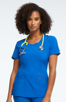 Infinity by Cherokee with Antimicrobial Certainty Women's Split Neck Scrub Top With Princess Seams