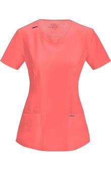 Clearance Infinity by Cherokee with Antimicrobial Certainty Women's Split Neck Scrub Top With Princess Seams