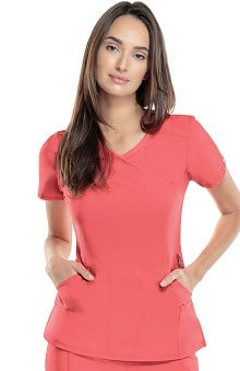 Infinity by Cherokee with Certainty Antimicrobial Fabric Technology Women's Mock Wrap Solid Scrub Top
