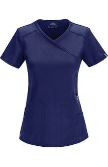 Infinity by Cherokee with Antimicrobial Certainty Women's Mock Wrap Scrub Top With Princess Seams