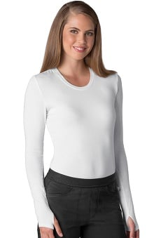 Infinity by Cherokee with Antimicrobial Certainty Women's Round Neck Long Sleeve T-Shirt