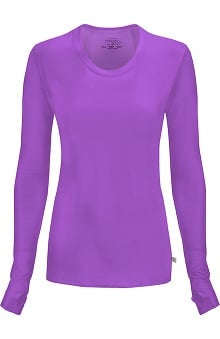 Clearance Infinity by Cherokee with Certainty Antimicrobial Fabric Technology Women's Round Neck Long Sleeve Underscrub
