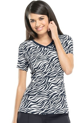 Infinity by Cherokee Women's Mock Wrap Animal Print Scrub Top