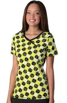 Infinity by Cherokee Women's Mock Wrap Dot Print Scrub Top