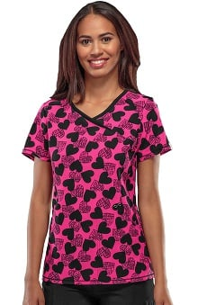 Infinity by Cherokee with Antimicrobial Certainty Women's Mock Wrap Heart Print Scrub Top