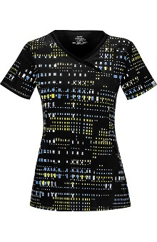 Clearance Infinity by Cherokee with Antimicrobial Certainty Women's Mock Wrap Matrix Print Scrub Top
