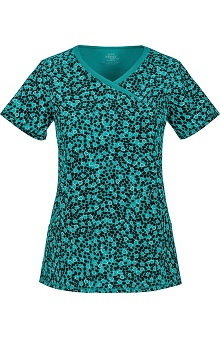 Infinity by Cherokee With Antimicrobial Certainty Women's Mock Wrap Not Heart To Find Print Scrub Top