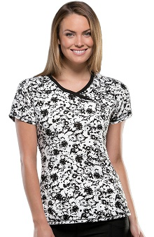 Infinity by Cherokee with Antimicrobial Certainty Women's Mock Wrap Positively Floral Print Scrub Top