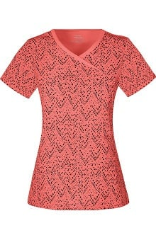 Infinity by Cherokee with Antimicrobial Certainty Women's Mock Wrap Chevron Print Scrub Top