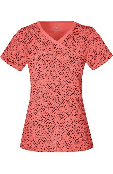 Clearance Infinity by Cherokee with Certainty Antimicrobial Fabric Technology Women's Mock Wrap Chevron Print Scrub Top