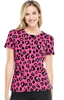 Infinity By Cherokee With Antimicrobial Certainty Women's V-Neck Animal Print Scrub Top