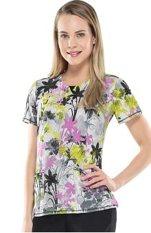 Infinity By Cherokee With Antimicrobial Certainty Women's V-Neck Floral Print Scrub Top