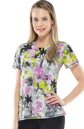 Clearance Infinity by Cherokee Women's V-Neck Floral Print Scrub Top