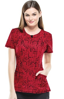Infinity by Cherokee Women's V-Neck Dot Print Scrub Top