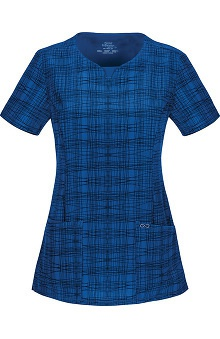 Clearance Infinity by Cherokee with Certainty Antimicrobial Fabric Technology Women's V-Neck A Fine Line Print Scrub Top
