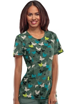 Infinity by Cherokee with Antimicrobial Certainty Women's V-Neck Butterfly Print Scrub Top