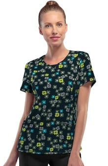 Infinity by Cherokee With Antimicrobial Certainty Women's V-Neck Chevron Floral Print Scrub Top