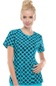 Infinity by Cherokee Women's Round Neck Polka-Dot Print Scrub Top