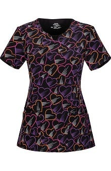 Infinity by Cherokee with Antimicrobial Certainty Women's V-Neck Heart Print Scrub Top
