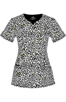Clearance Infinity by Cherokee with Certainty Antimicrobial Fabric Technology Women's V-Neck Leopard Print Scrub Top