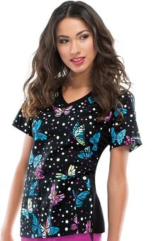 Flexibles by Cherokee Women's V-Neck Knit Panel Butterfly Print Scrub Top