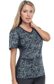 Flexibles by Cherokee Women's V-Neck Knit Panel Dot Print Scrub Top