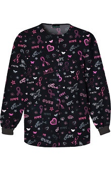 pink ribbon scrubs: Cherokee Women's Snap Front Print Jacket