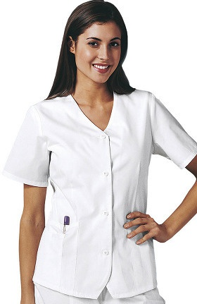 Clearance Cherokee Women's Button Front Weskit Solid Scrub Top