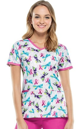 Breast Cancer Awareness by Cherokee Women's V-Neck Heart Print Scrub Top