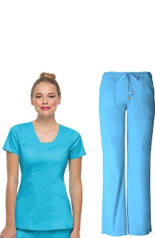 Picture Perfect by heartsoul Women's V-Neck Scrub Top & Cargo Scrub Pant Set