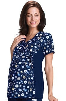 Flexibles by Cherokee Women's Maternity Dot Print Scrub Top