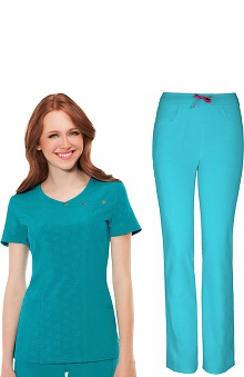 Shine On! by heartsoul Women's Mock Wrap Scrub Top & Low Rise Scrub Pant Set