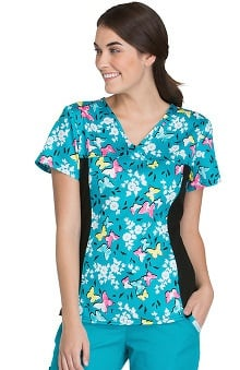 Flexibles by Cherokee Women's V-Neck Butterfly Print Scrub Top