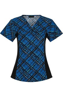 Flexibles by Cherokee Women's V-Neck Plaid Print Scrub Top