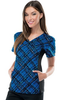 Clearance Flexibles by Cherokee Women's V-Neck Plaid Print Scrub Top