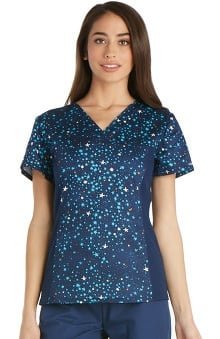 Flexibles by Cherokee Women's V-Neck Star Print Scrub Top