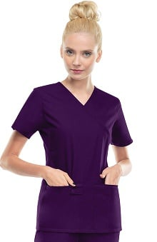Flexibles by Cherokee Women's Mock Wrap Solid Scrub Top