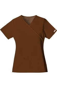 Clearance Flexibles by Cherokee Women's Mock Wrap Solid Scrub Top