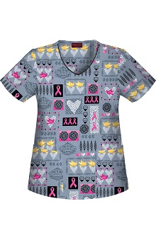 pink ribbon scrubs: Warriors In Pink Powered by Ford Women's V-Neck Print Top