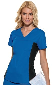 MED: Flexibles by Cherokee Women's V-Neck With Stretch Side Panels Solid Scrub Top
