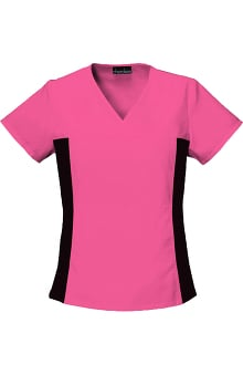 2XL: Cherokee Flexibles Women's V-Neck With Stretch Side Panels Solid Scrub Top