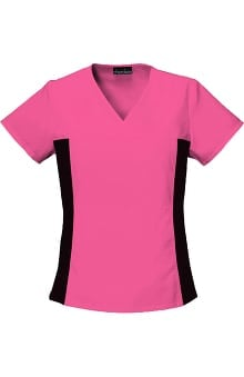 XSM: Flexibles by Cherokee Women's V-Neck With Stretch Side Panels Solid Scrub Top