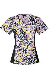 Flexibles by Cherokee Women's V-Neck Floral Print Scrub Top