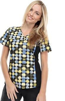 Flexibles by Cherokee Women's V-Neck Dot Print Scrub Top